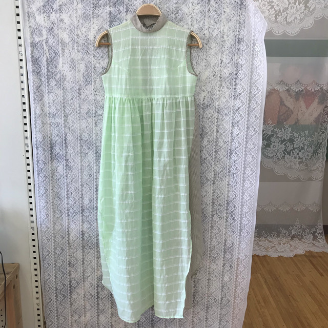 Apron dress〈green×beige〉