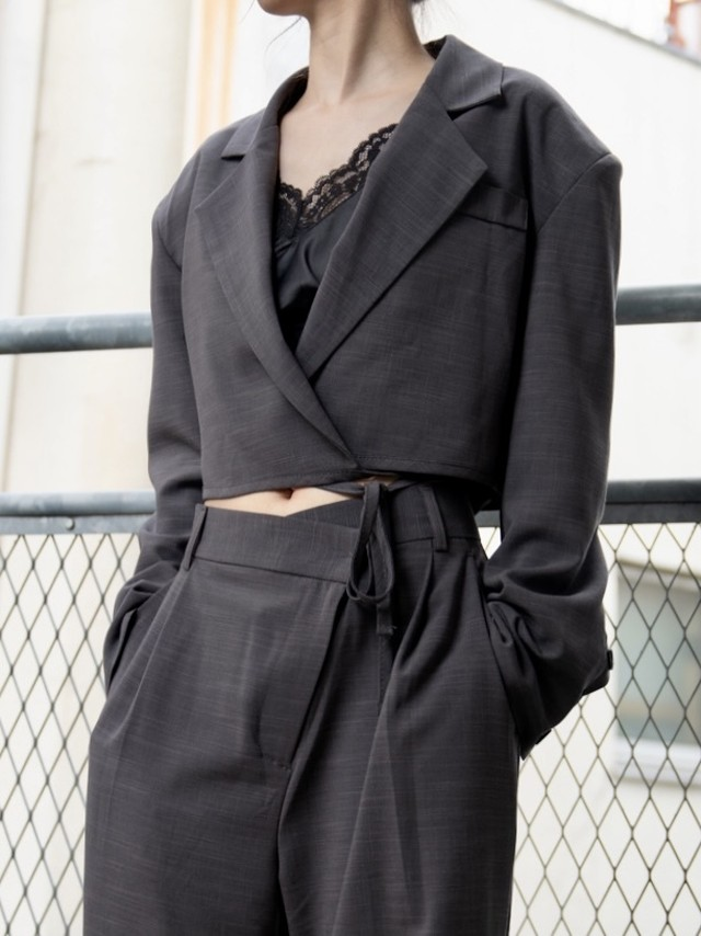 【WOMENS - 2 size】CROP TAILORED JACKET / 2colors