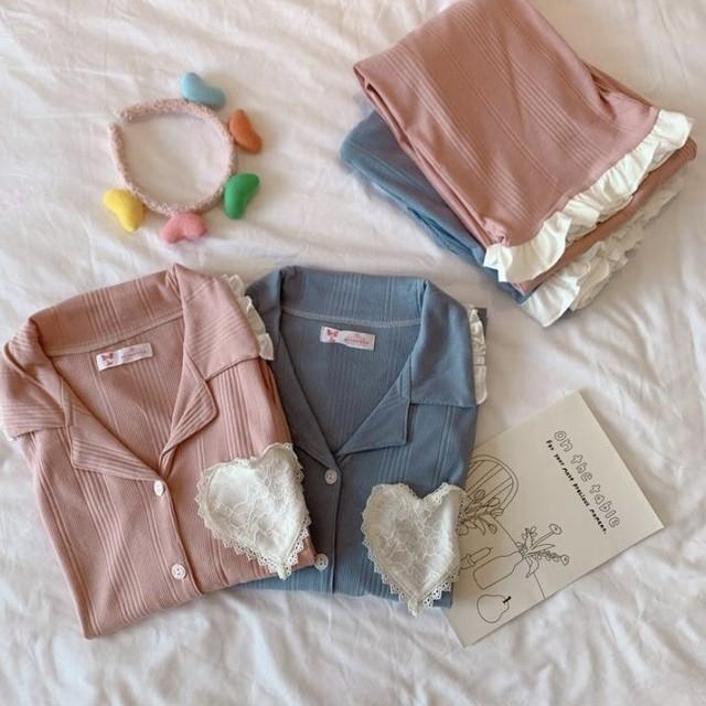 ルームウェア フリル ハート 長袖 トップス × パンツ 2set 2色 B4368