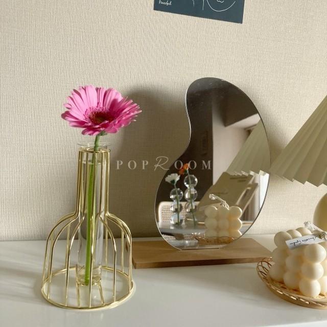ゴールドフレームチューブフラワーベース(花瓶) R1216