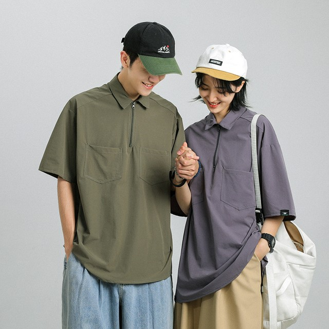 カップル向けハーフジップシャツ
