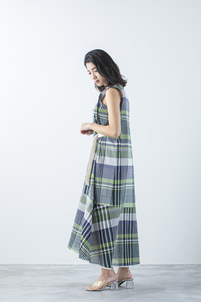 トロピカルチェックマーメイドドレス  <グリーン>