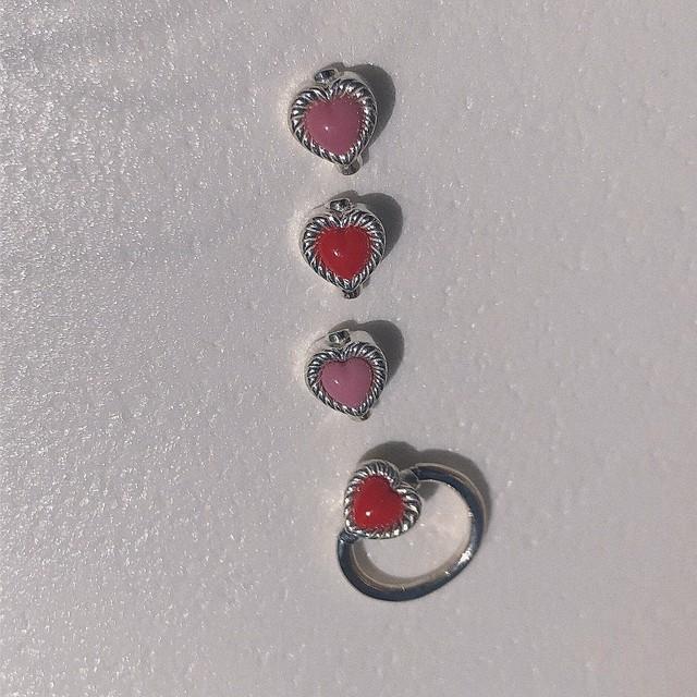 VINTAGE HEART CHARMのsnap RING body jewelry チャーム単体 SILVER925 #0003 ヴィンテージハートリングボディピアス・チャーム単体/シルバー925