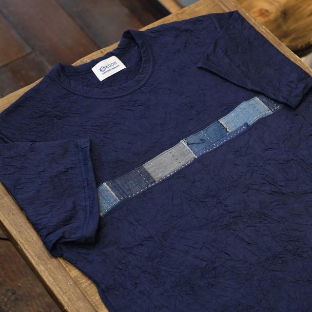 KUON(クオン) ラインアップサイクル襤褸 リンクルTシャツ ネイビー
