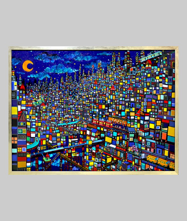 油彩画*夜のまち | CITY | OIL x CANVAS