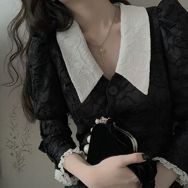 tucked sleeve lace dress