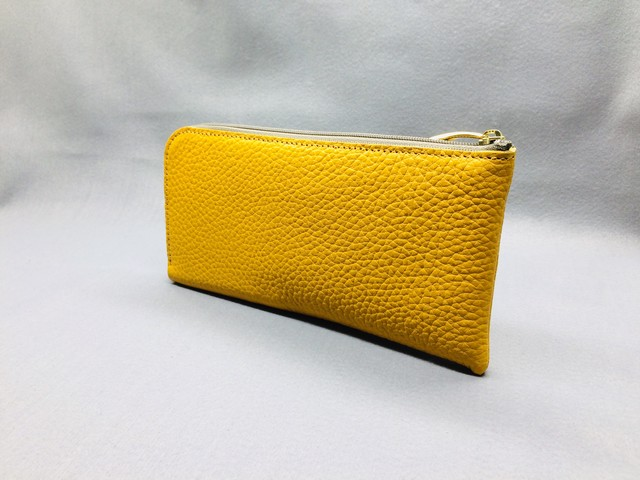 "L-type long wallet ""cara"" (soft shrink): yellow"
