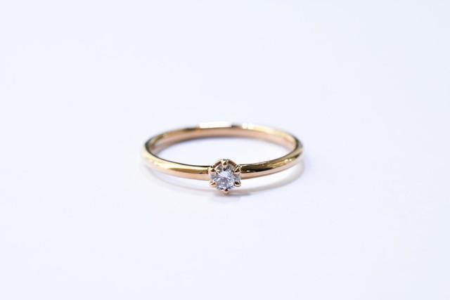 One ダイヤモンドリング (プロング)  0.1ct / K18YG