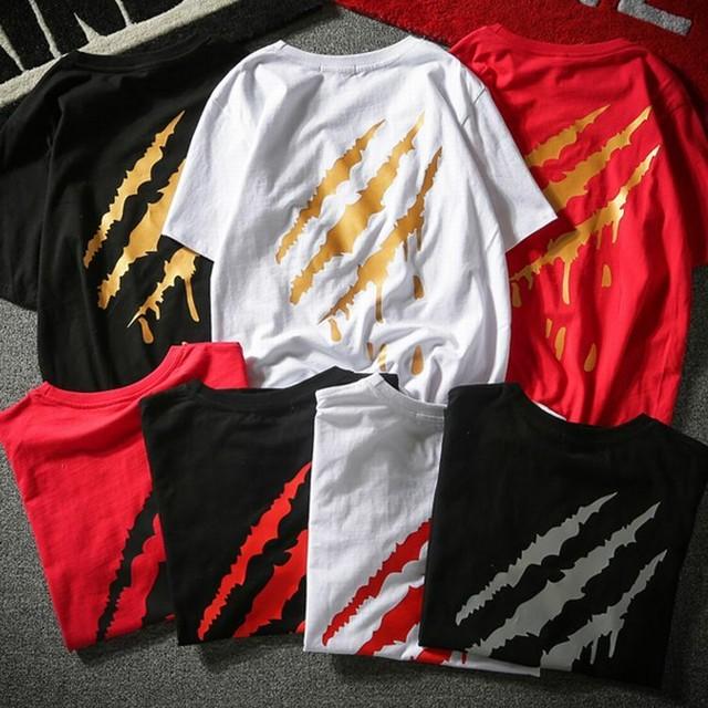 【7カラー】ユニセックス/男女兼用 メンズ/レディース Tシャツ 爪痕 ストリート系  / Blood nail short sleeve T-shirt behind tide brand scratch (DCT-574034088807)