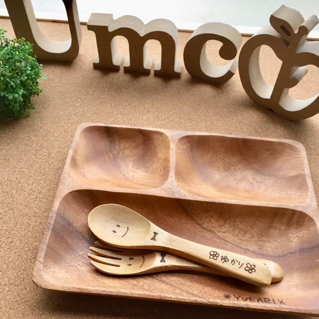 (1セット)木製トレーセット《竹製フォーク&スプーン》