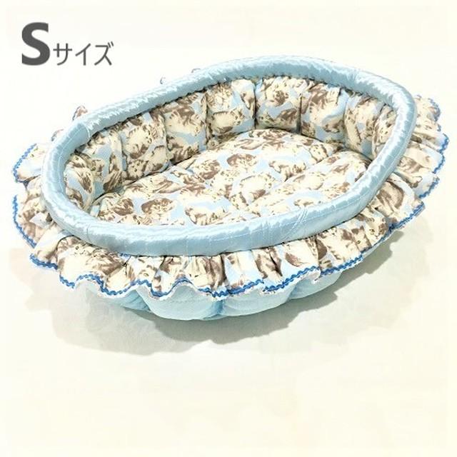 ふーじこちゃんママ手作り ぽんぽんベッド (サテンライトブルー) Sサイズ