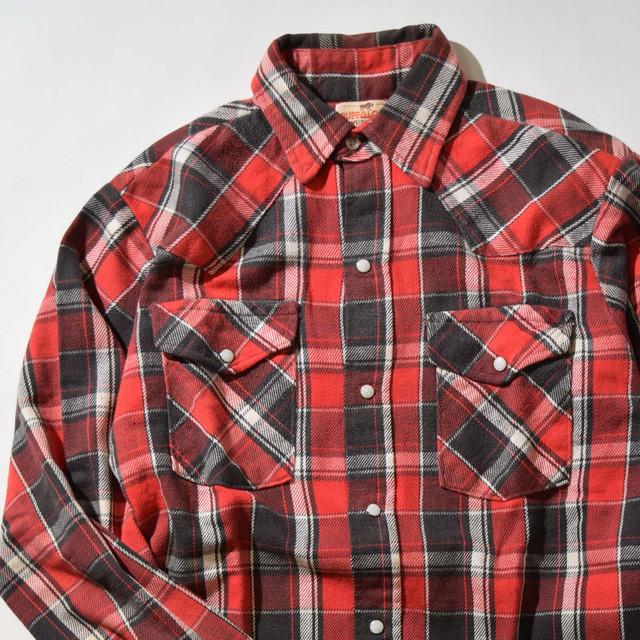 【Mサイズ】BUFFALO BILL バッファロー・ビル WESTERN CHECK SHIRT 長袖シャツ RED レッド 400602190867