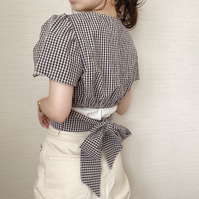 gingham check  blouse[7/22n-19]
