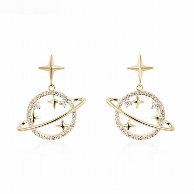 ピアス 惑星 宇宙 星 スター 韓国アクセサリー レディース キラキラ 合金 金メッキ シルバー925 クリスタル アクセサリー ジュエリー / Planet star silver needle earrings (DTC-599671351338)