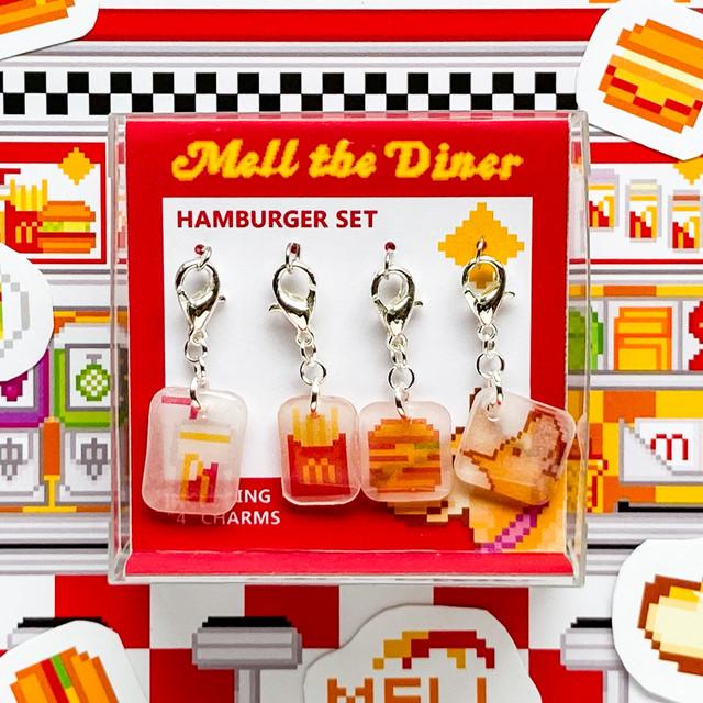 プラバン ハンバーガー ドット絵 MELL THE DINER チャーム 4点セット