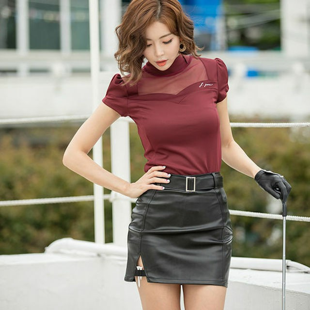 【再入荷】See Through T (Wine) + Leather Skirt