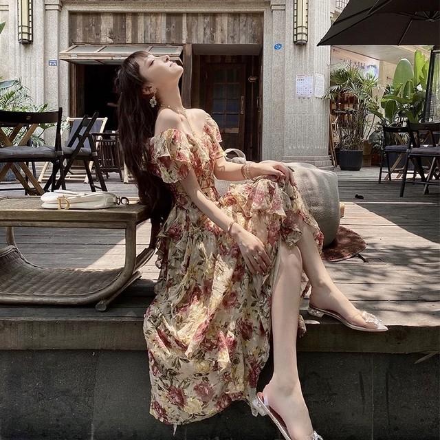 v neck flower long dress