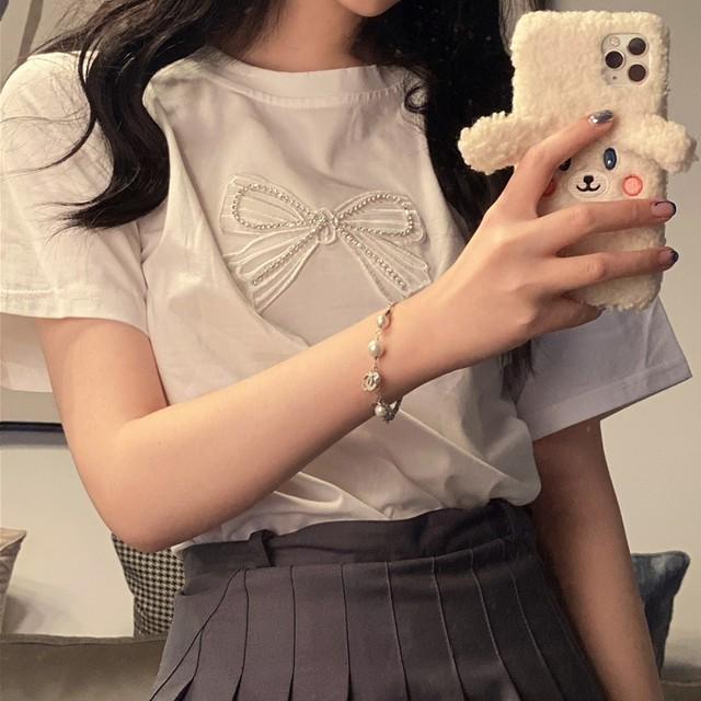 【トップス】キャンパスキュートプリントリボン半袖Tシャツ43544999