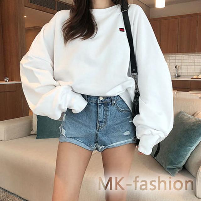 ゆったり可愛い♡オーバーサイズスウェット ボリューム袖 ☆2色 - メイン画像