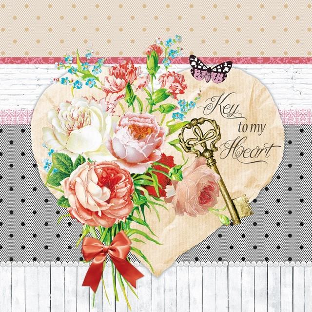 【Nouveau】バラ売り2枚 ランチサイズ ペーパーナプキン KEY TO MY HEART ピンク