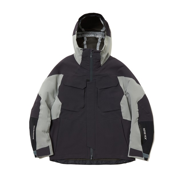 GORE-TEX CONTRASTED HOODED PARKA -CHARCOAL