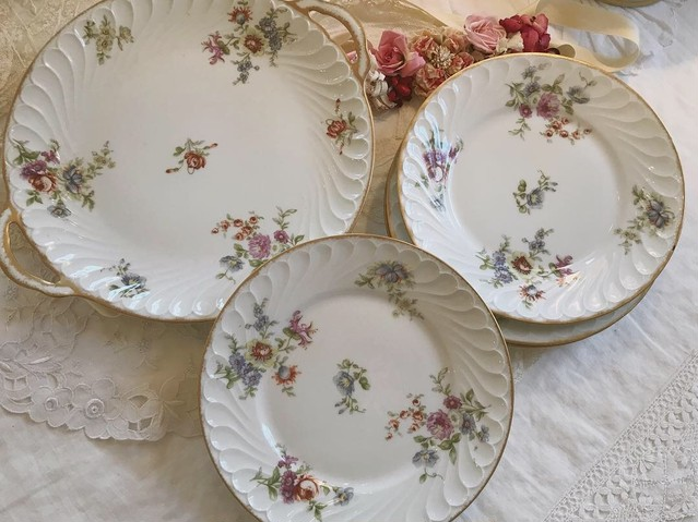 フランスリモージュ花柄プリント大皿と中皿セット  在庫1