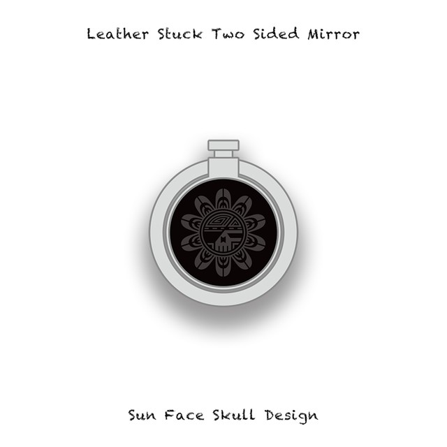 Leather Stuck Smartphone Ring / Sun Face Skull Design 004