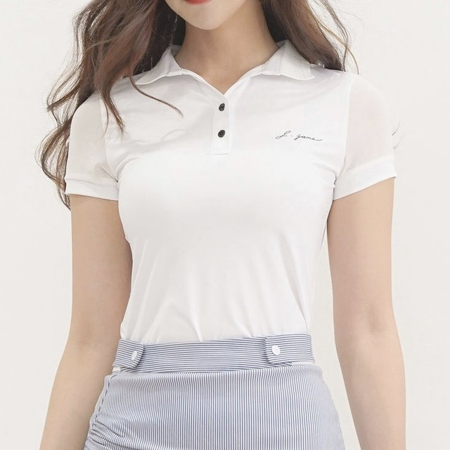 V-neck Lace Collar T-Shirt (White)