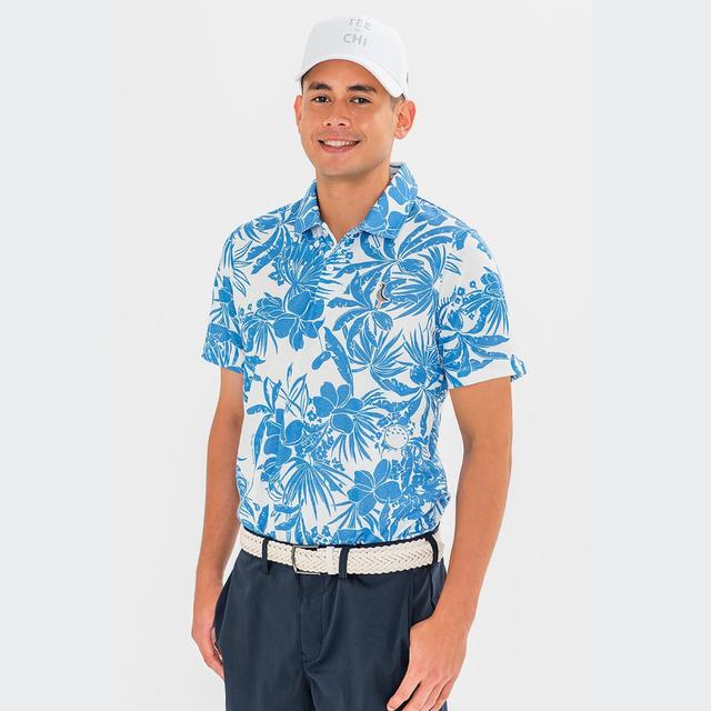「Tee-chi」×「PAIKAJI」メンズ/サンゴクロスポロシャツ【WHITE×BLUE】