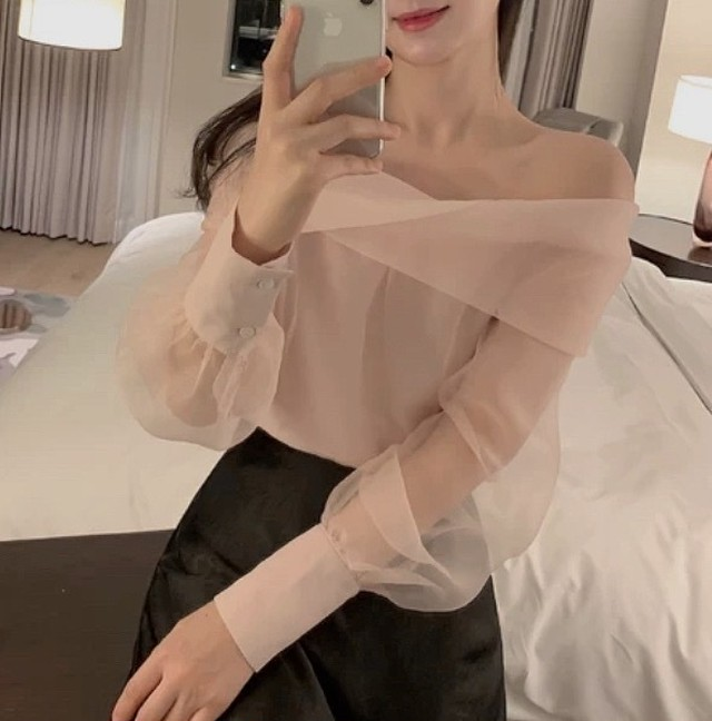 cross chiffon tulle tops 2color