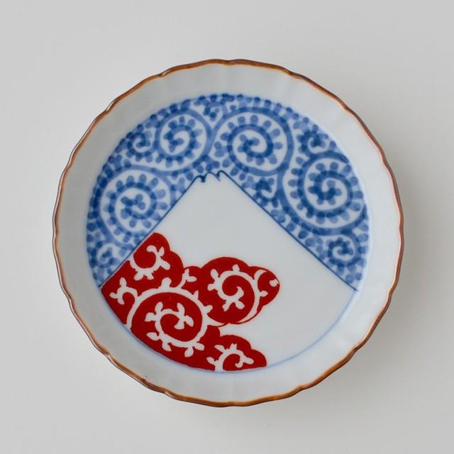 【おてしょ皿】染錦蛸唐草富士山図 立渕小皿
