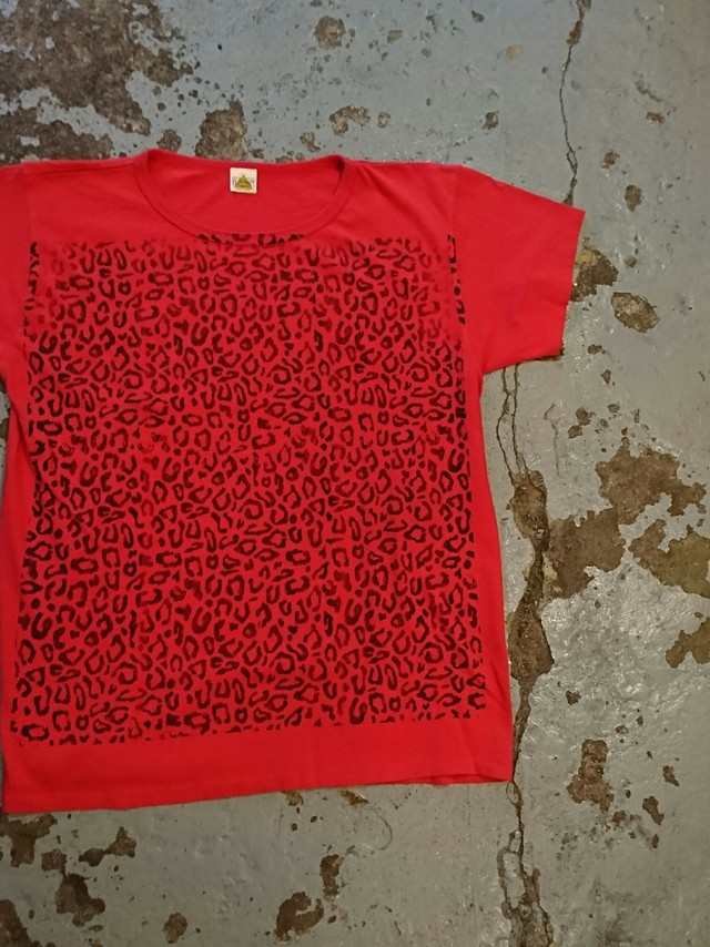 """FILTH MART """"LEOPARD PRINT TEE"""" Red Color"""