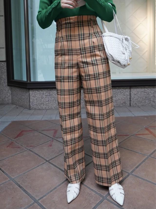 【予約】high waist check pants / apricot × black  (9月上旬発送予定)
