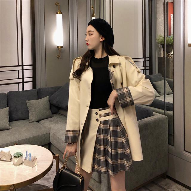 【セット】「単品注文」長袖ファッションチェック柄POLOネックトレンチコート+スカート25973855