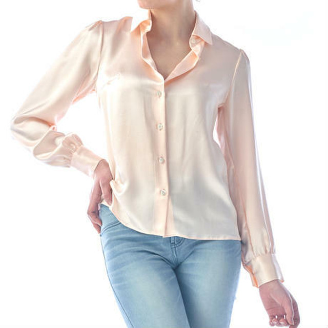 SILK LONG SLEEVES BLOUSE - BABY PINK