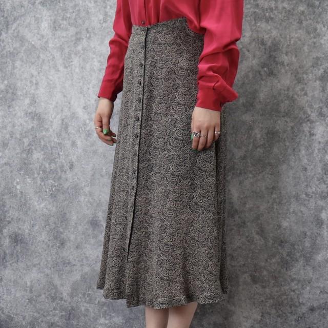 """アメリカ ユーズド  """"ジョーンズニューヨーク""""  シルク フロントボタン ロングスカート USA Used """"JONES  NEWYORK""""  Silk  Skirt"""