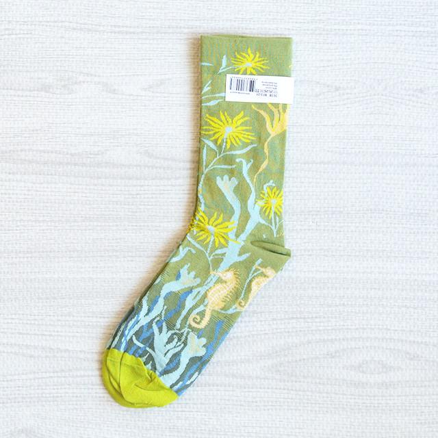 新商品《魚/タツノオトシゴ》 靴下 Bonne Maison ソックス moss seahorse 22〜24cm フランス