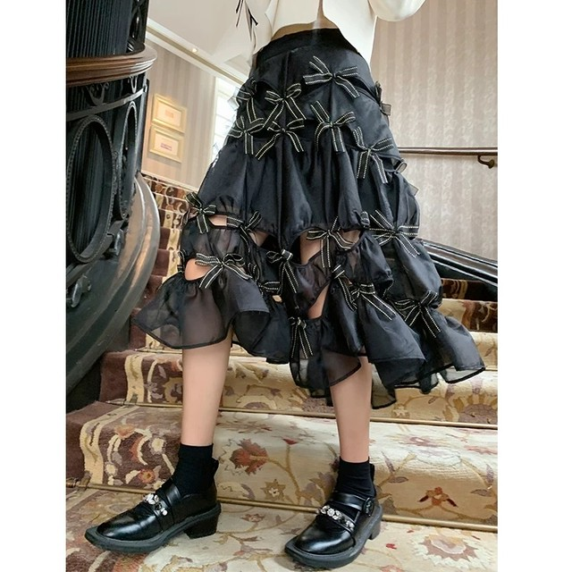 【1点のみ即納】total ribbon volume skirt