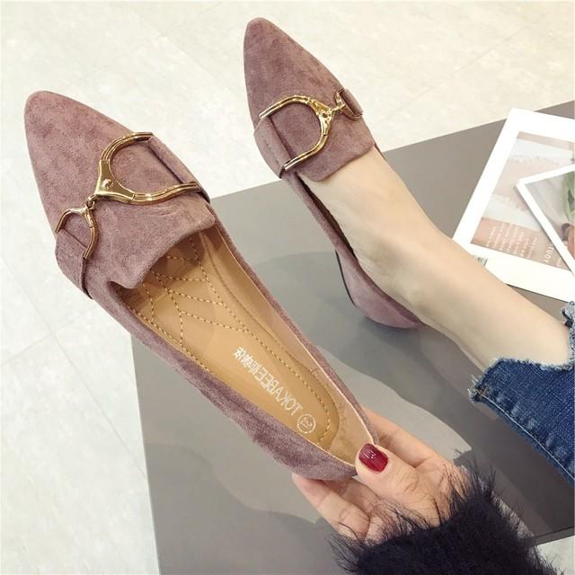 【shoes】無地スクエアトゥ履き心地よいフラットシューズ  17688206