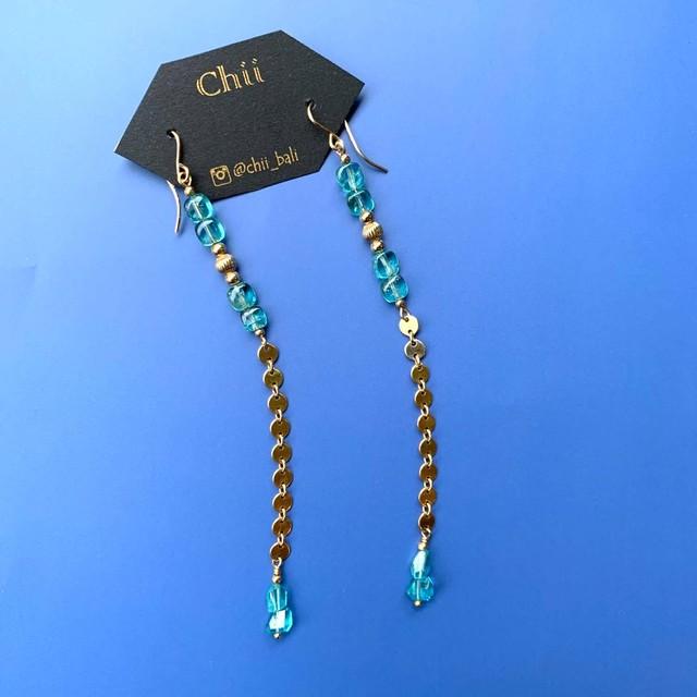 Chii アパタイトと丸チェーンのピアス(K14GF使用・イヤリング可)