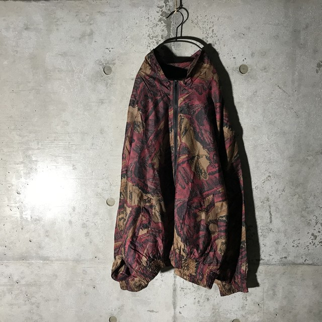 [used]crazy pattern deep red jacket