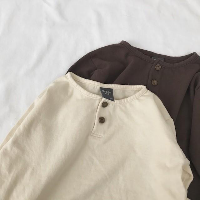 (90-120cm) Henry neck long sleeved T-shirt