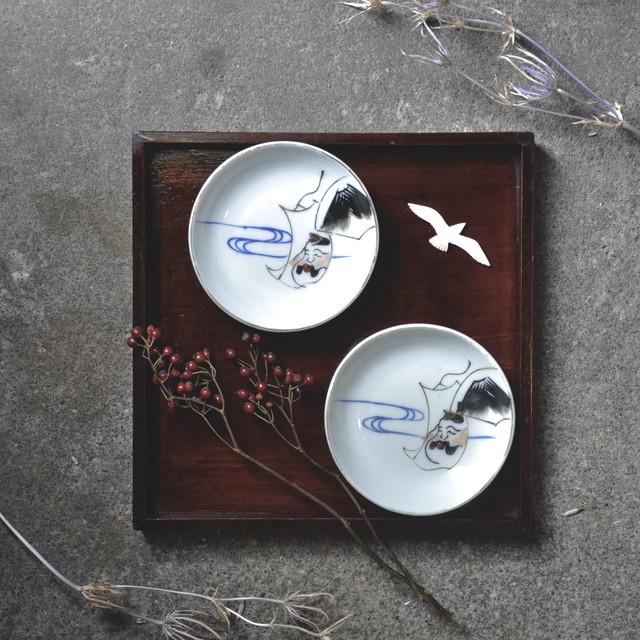 【 手塩皿 - ebisu - 】富士山 / 恵比寿天 / 大正 / antique / japan