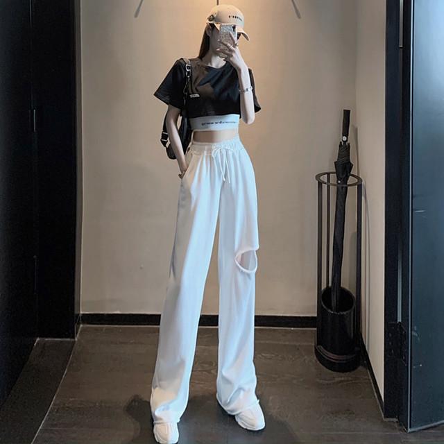 【セット】「単品注文」ファッション半袖ラウンドネックショート丈Tシャツ+キャミソール+パンツ30304372