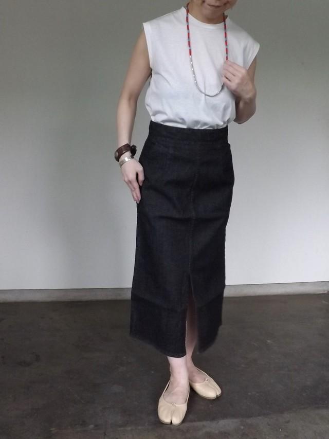 Women {CL010-0165} Black Denim skirt [BLACK]  日本製.岡山デニム.ストレッチ,ボーイな女,セットアップ