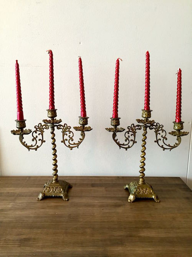 Antique 3 Candle Stand Pair