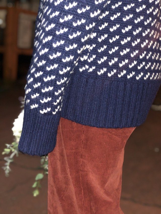 70s~80s LLbean blue knit