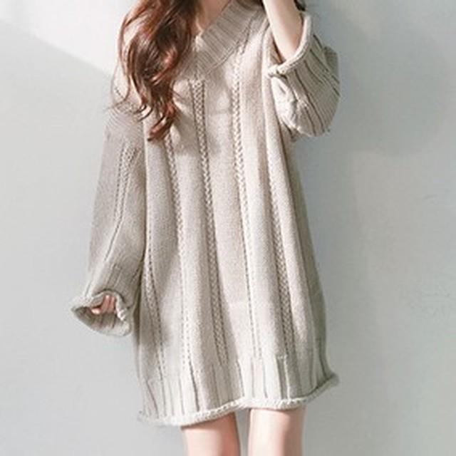 【dress】合わせやすいvネックニットプルオーバーワンピース 23514893