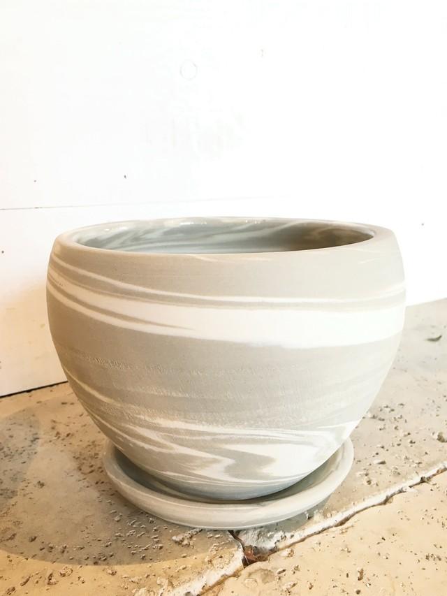 アイボリー 陶器鉢 Lサイズ(Φ29cm×H28cm)