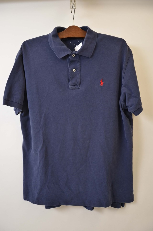 【Lサイズ】 POLO RALPH LAUREN ポロ ラルフローレン ONE POINT PONY POLO ポロシャツ NAVY/RED L 400603190708